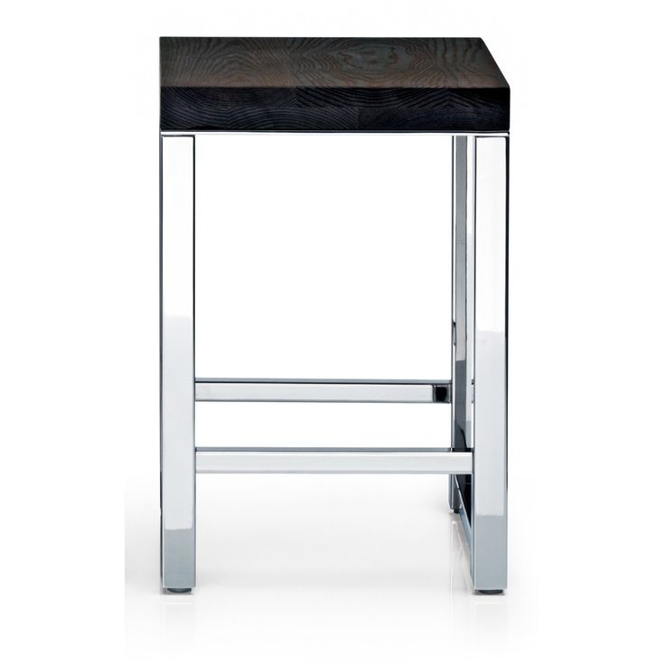 DWBA Backless Vanity Bench Stool for Bath, Bedroom W/ Wood seat and Chrome Legs