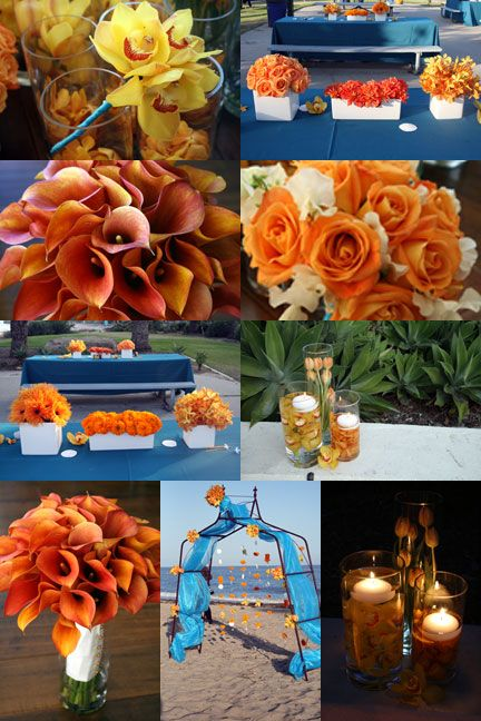 Orange flowers! I love the flowers in the water with floating candles for centerpieces. And that seems easy for us to make.