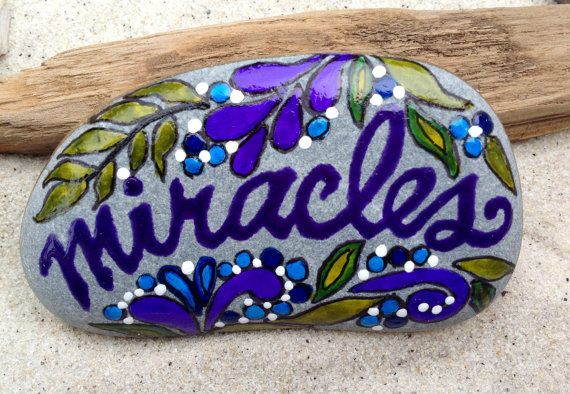 Miracles / Painted Rock / Sandi  Pike Foundas / by LoveFromCapeCod, $42.00