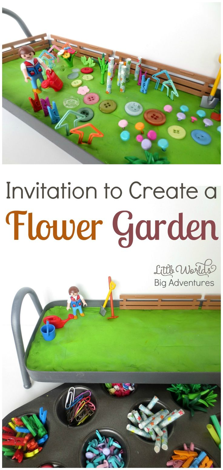 Invitation to Create a Play Dough Flower Garden, a fun Spring Activity for Preschoolers | Little Worlds, Big Adventures