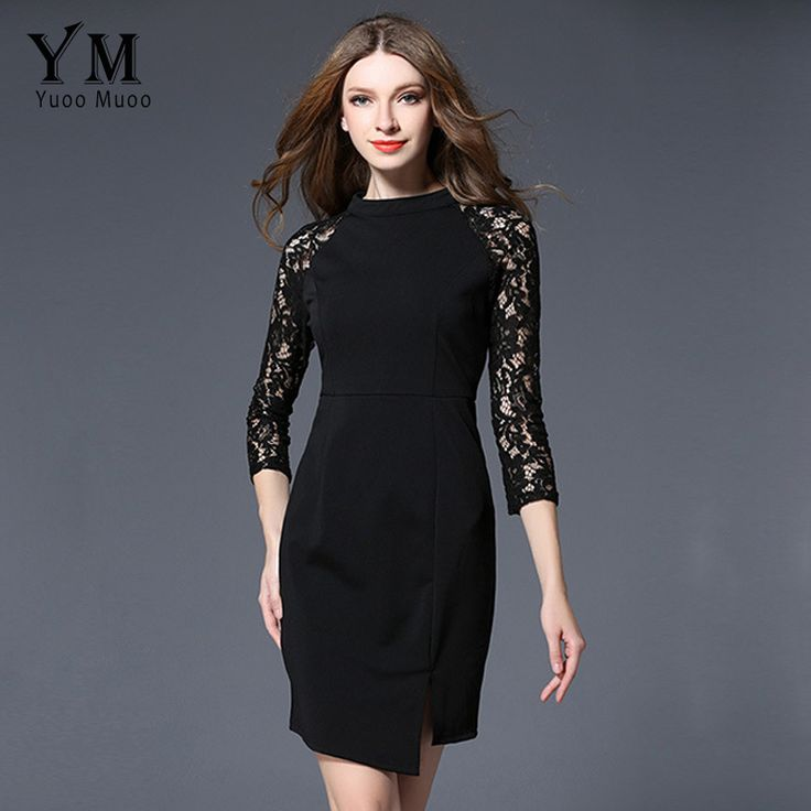 ==> [Free Shipping] Buy Best YuooMuoo New Spring Women Black Office Dress Elegant Lace Patchwork Sleeve Front Split Work Dress Slim Women Party Dress Online with LOWEST Price | 32791864893