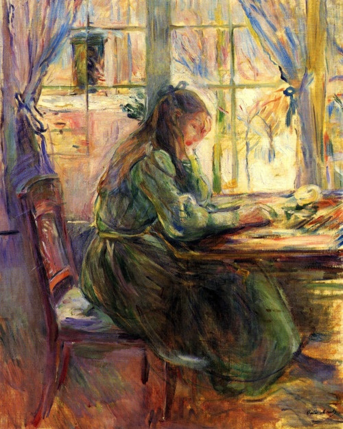 Berthe Morisot:  Young Girl writing (1891) this card is so beautiful, I just.find peace and beauty in this pic