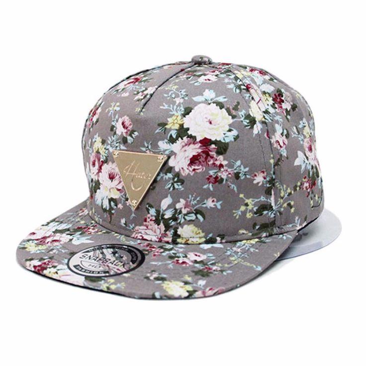 Floral-Flower-Snapback-Men-Women-Hip-Hop-Hat-Flat-Peaked-Baseball-Adjustable-Cap