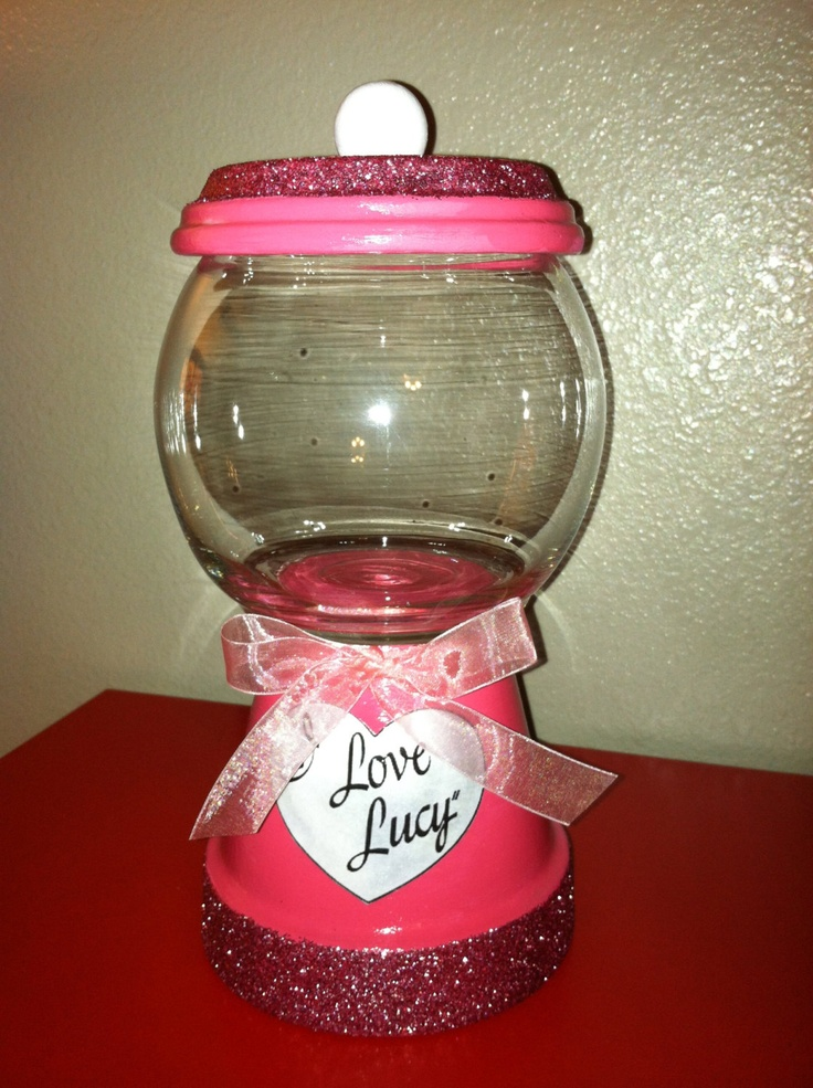 Candy Jar!- so cute could put candy or money in it and start saving up awesome idea :) im going to make different ones with different sayings on it or the name of the person im making it for:)