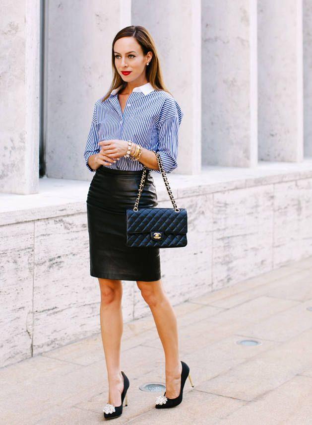オフィススタイルにもいかが?デキるキャリアウーマン♪人気・おすすめ・トレンドのレザースカートのモテコーデ一覧♪