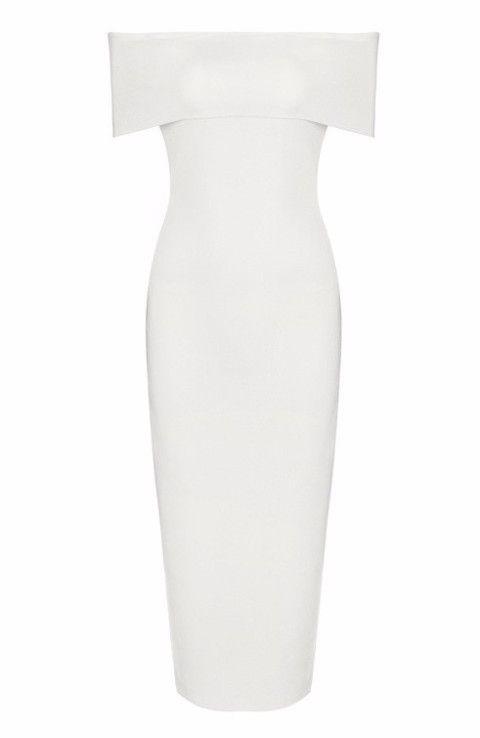 'Hallie' White Bardot Bandage Dress