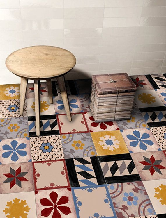 Tile decals tiles for kitchen bathroom back splash floor decals hand painted moroccan mix tile sticker 48 sticker pack