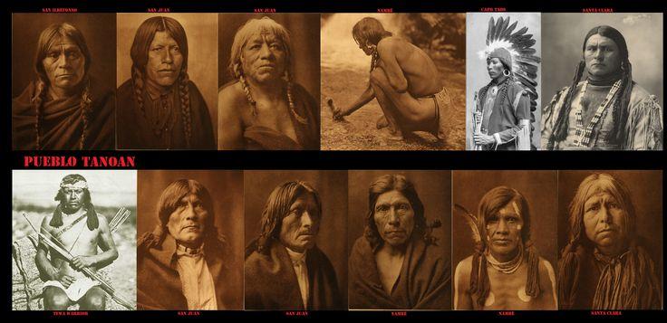 Tra i Tanoan (Tiwa,Tewa, Towa) gli uomini portavano i capelli di solito divisi in 2 trecce più o meno lunghe. Di solito venivano avvolte con dei lacci. Anche in questo caso si nota un'influenza dalla cultura delle Praterie.