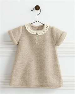 Babies Knitting Patterns Lace Collar Dress Pattern