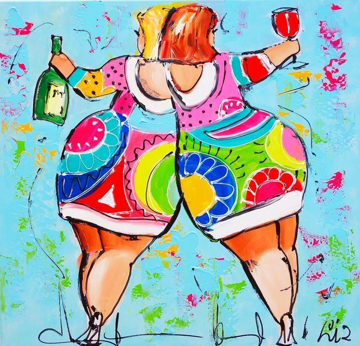 Vrolijk Schilderij Dames lichtblauw wijn