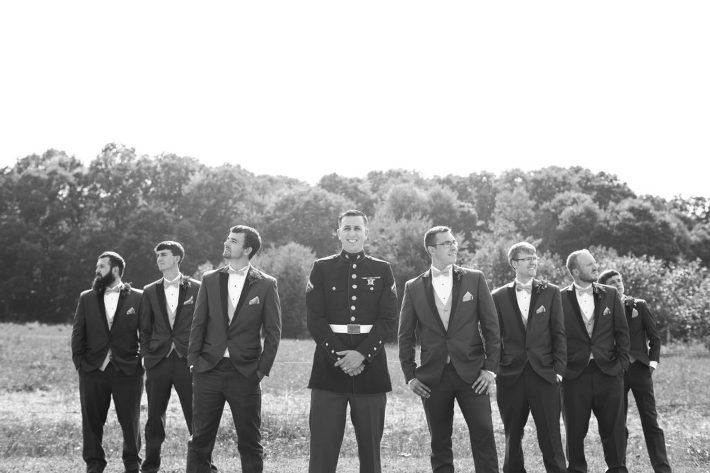 Groom and groomsmen, marines