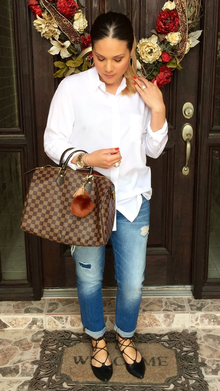 White shirt | banana republic | distressed | torn | ripped | boyfriend jeans | gap | lace up flats | black | ideas | spring | outfit | chic | Kendra Scott earrings | sky | gold | Louis Vuitton | speedy 35 | damier ebene / mommy style