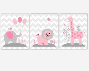 Baby Nursery Wall Art Gray Pink Elephant di DezignerheartDesigns