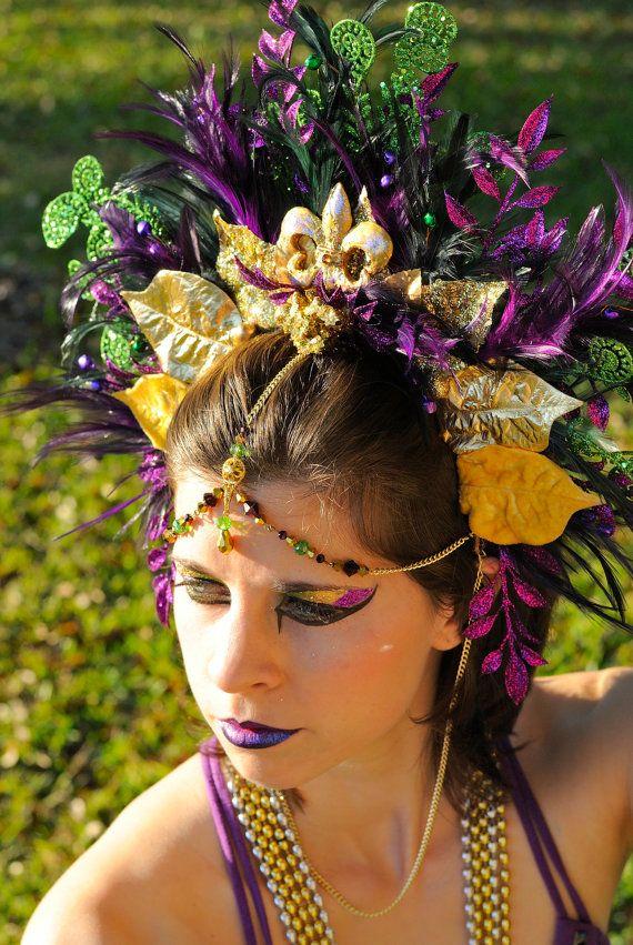 Mardi Gras, Carnival, Crown, Beaded Feathered Tiara, Showgirl, Headpiece, Musical