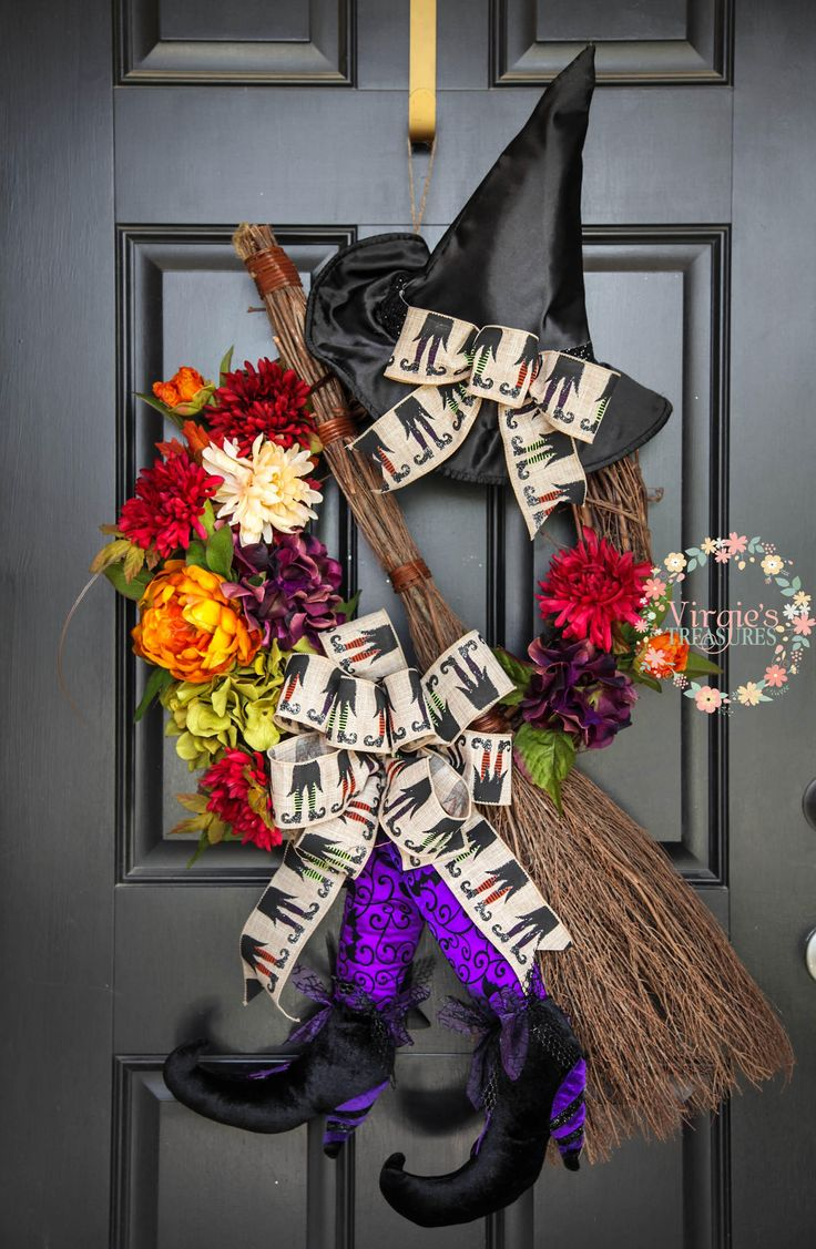 Beautiful Halloween Wreath, Rustic Witch Wreath, Halloween Grapevine Wreath, Floral Halloween Wreath, Witch Broomstick Wreath, Unique by VirgiesTreasures on Etsy