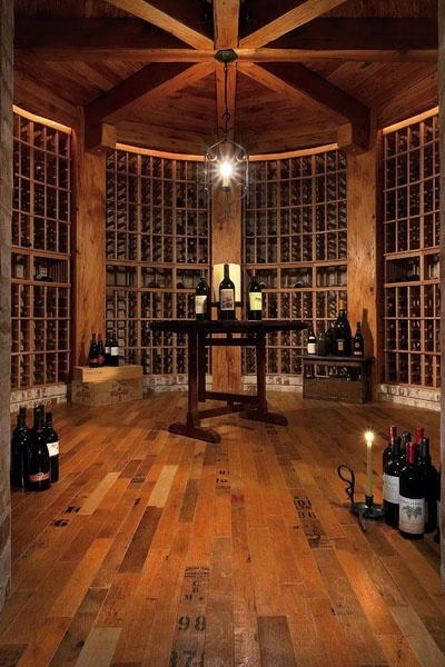 wine cellar with wine crate flooring!!