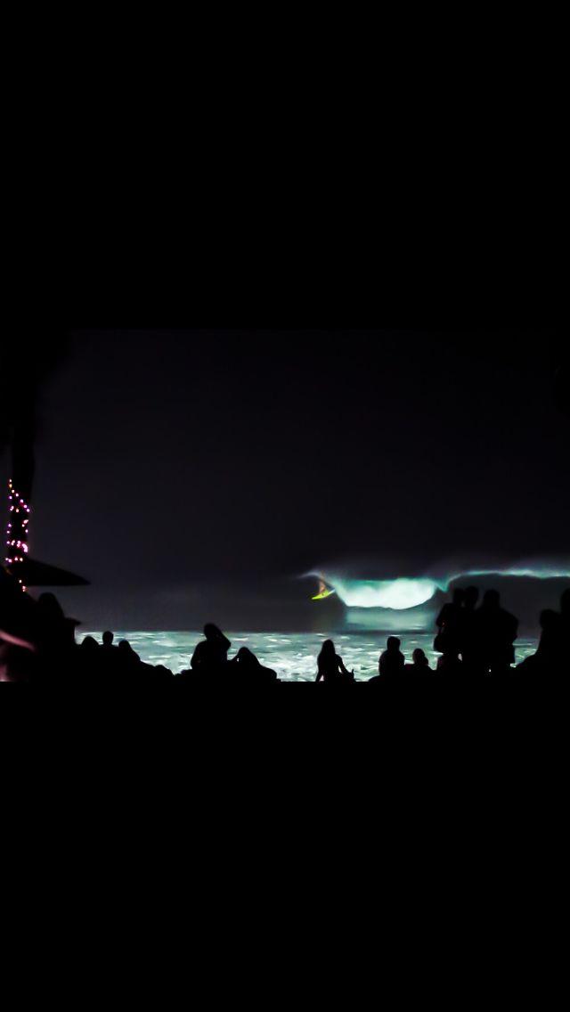 Night surfing at Komune Bali