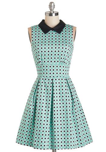 I look awful in mint green, but I love this dress. It's possible the black collar might offset the color to look better on me.