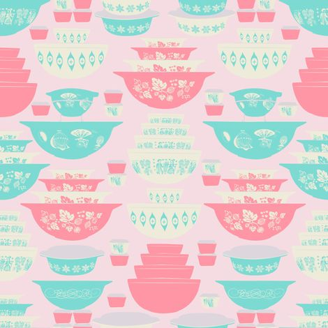 Pink and Turquoise Pyrex fabric by mandasisco on Spoonflower - custom fabric