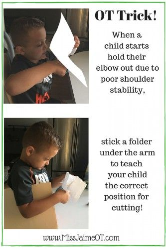 OT Hack for Kids Who Stick Out Their Elbow When They Cut with Scissors!