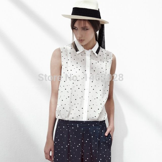 Women 100% Silk Polka Dot Sleeveless Blouses Export Original 2015 New Casual France Style Dot Shirt Roupas femininas US $56.10 /piece      CLICK LINK TO BUY THE PRODUCT  http://goo.gl/oYWEYs