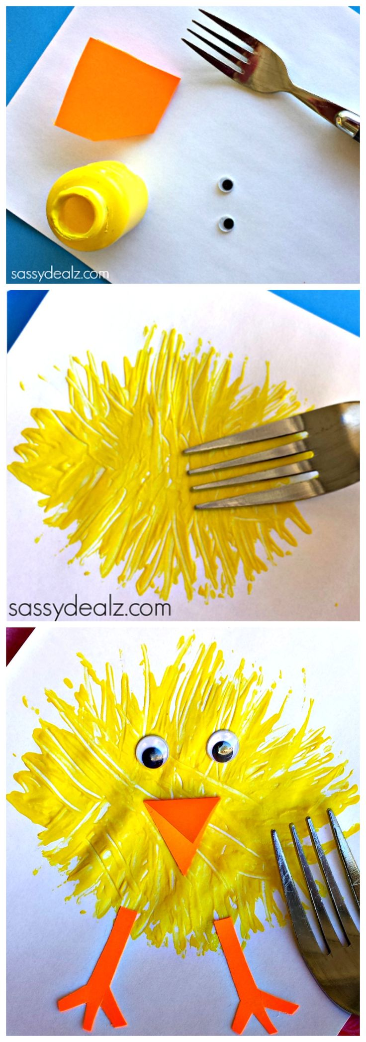 Make a Chick Craft using a fork and paint! Such a cute craft for kids! #Easter idea.  -Repinned by Totetude.com