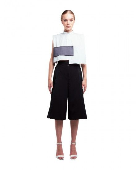Semi Banded Collar Shirt and Side Pleated Wide Leg Culotte