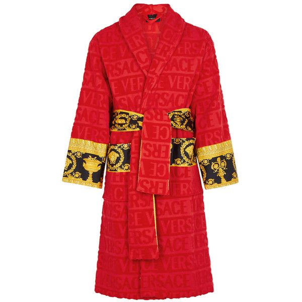 Versace Red Logo Cotton Robe (€415) ❤ liked on Polyvore featuring intimates, robes, red bathrobe, cotton bath robe, cotton dressing gown, patterned robes and red bath robe