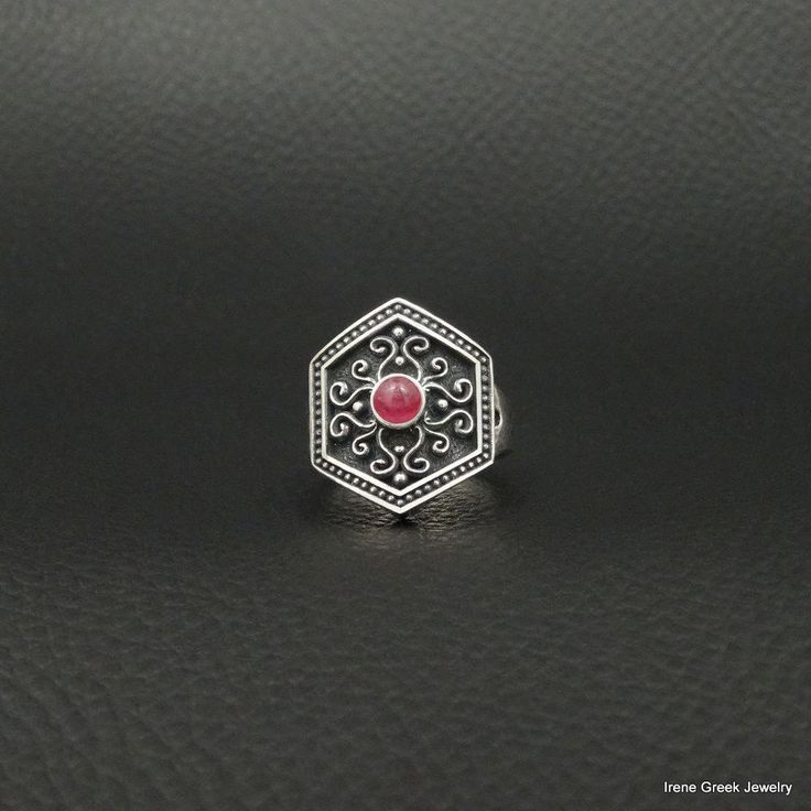 NATURAL RUBY CABOCHON BYZANTINE STYLE 925 STERLING SILVER GREEK HANDMADE RING #IreneGreekJewelry #Cocktail