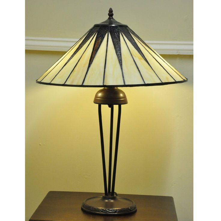 """Monique Traditional Art Deco Tiffany Style Stained Glass Table Lamp 18"""" Shade: Amazon.co.uk: Lighting"""