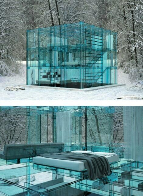 The Milan based Design firm, Santambrogio developed this amazing glass house, which is entirely constructed of light blue, hued glass.