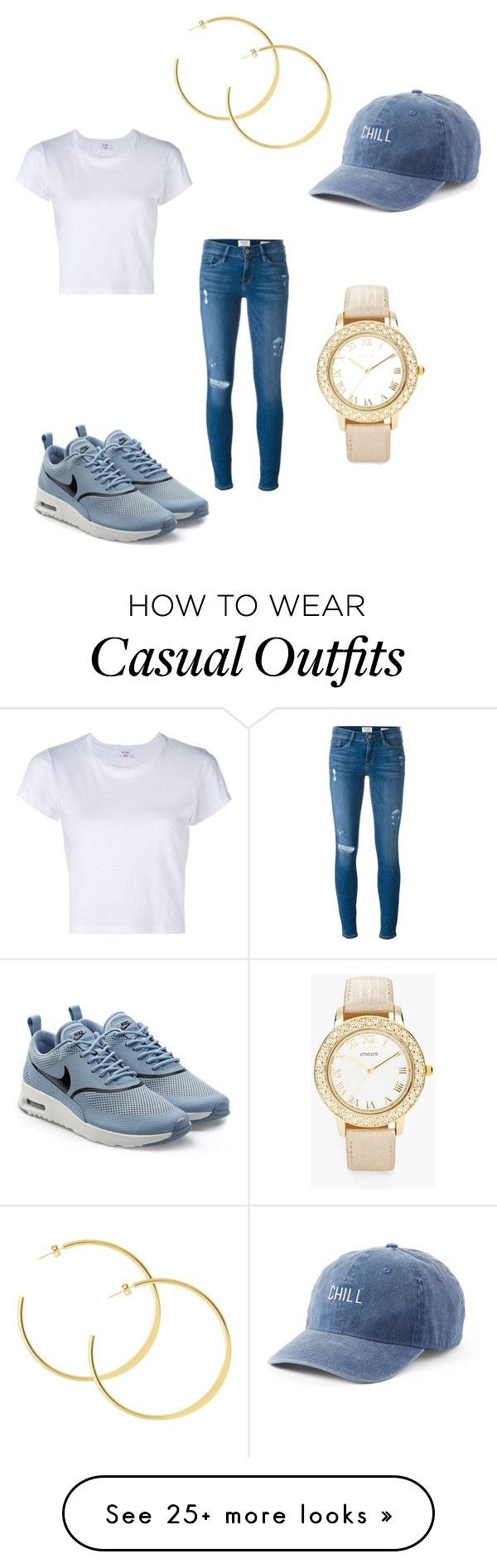 """Casually Chillin'"" by tainasanchez on Polyvore featuring Frame, RE/DONE, SO, NIKE and Chico's"