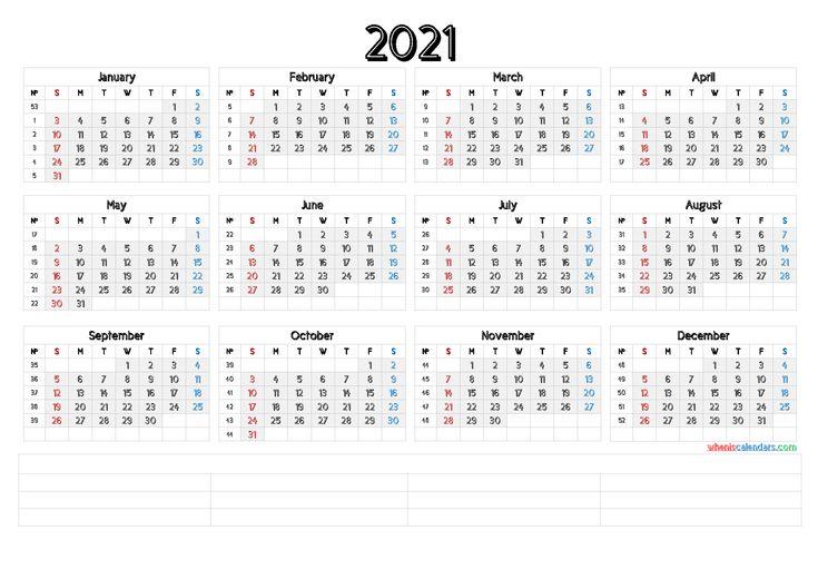2021 Printable Yearly Calendar with Week Numbers [Premium ...