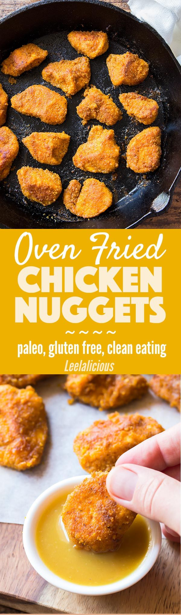 These Paleo Chicken Nuggets are oven fried and have a delicious seasoned coconut flour breading. A healthy and kid friendly version of baked chicken nuggets