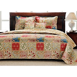 @Overstock - Cozy and colorful, this quilt set will update your bedroom in a flash. Kismet prints in shades of yellow, green, red and blue cover this quilt and sham set.  http://www.overstock.com/Bedding-Bath/Kismet-Cotton-Cream-Quilt-Set/2461860/product.html?CID=214117 $67.49