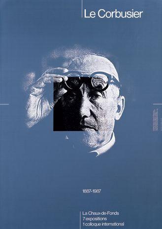 pinterest.com/fra411 #Poster - Werner Jeker – Le Corbusier, exhibition poster, 1987