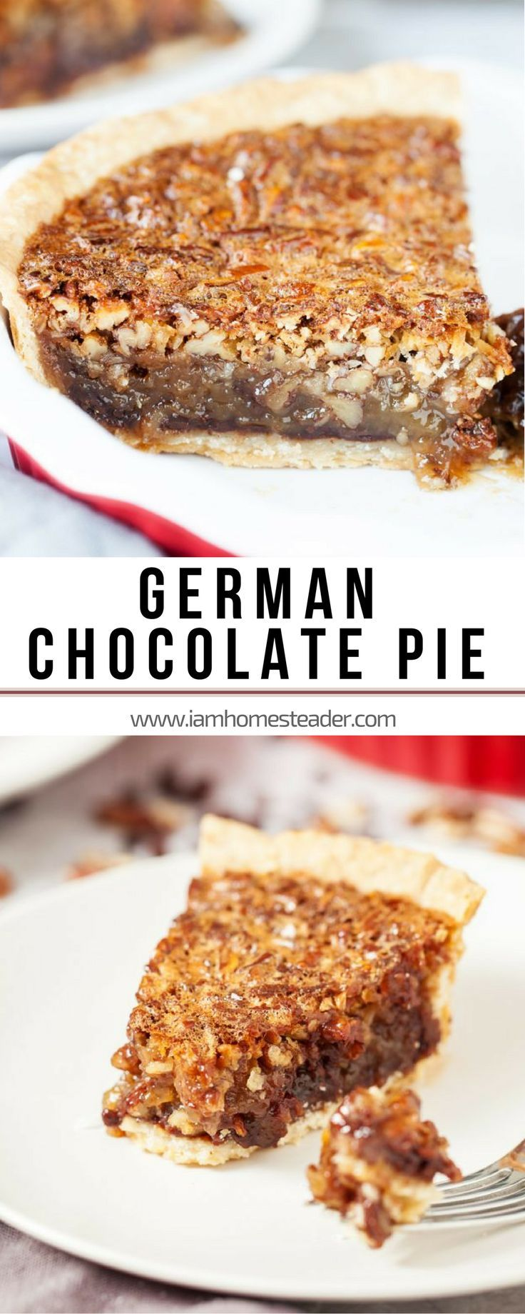 GERMAN CHOCOLATE PIE | A decadent dessert - thick, chewy, and crunchy layer of coconut and pecans atop a  bed of chocolate chips! Perfect if paired on any of your easy dinner recipes! Add this to your collection of Easy Dessert Recipes | Quick and Easy Dinner Recipe for the Family | Easy Homemade Food Recipes for Dinner Check us out @iamhomesteader for more healthy homemade cooking and easy homesteading recipes you can do at home.  #Homestead #homesteading