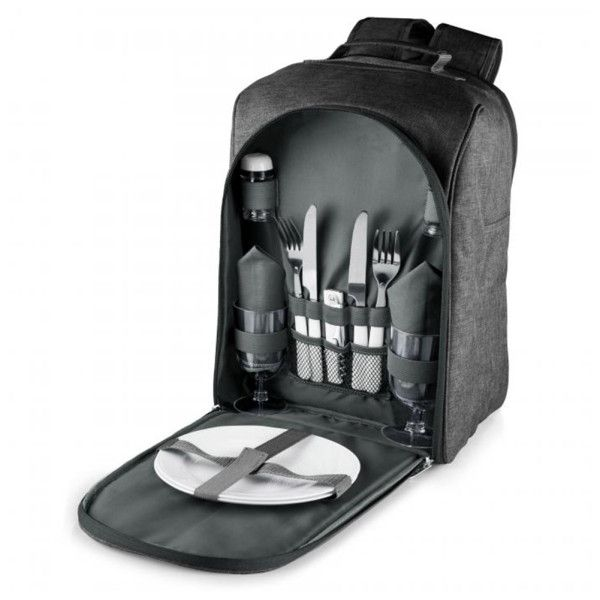 The Picnic Backpack Cooler is a fully-insulated, organized bag that includes an integrated cooler for food and beverages. The backpack is comfortable and ideal for short hikes. Includes 2 forks, 2 knives, 2 spoons, 2 wine glasses, 2 plates, 2 napkins and a salt and pepper shaker set.