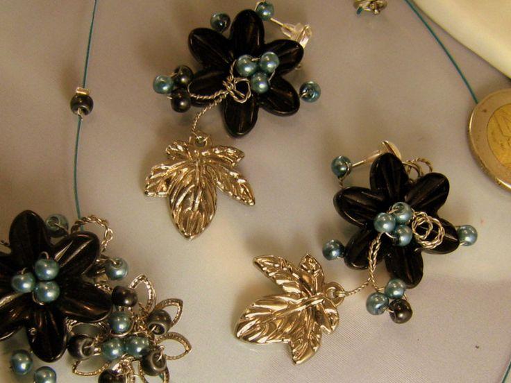 Dangle Earrings – BLACK & BLUE – Wire Wrap Earrings – a unique product…