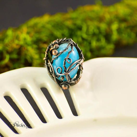 Jedeite Copper Ring Adjustable Ring Blue Ring Copper
