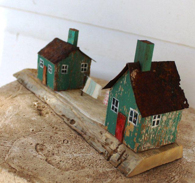 folk art primitive mixed media 3 d little wooden by fadedwest