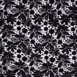 Black cotton guipure lace with a floral design. Attractive layering fabric for dresses and tops.
