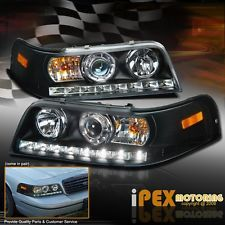 NEW 1998-2011 Ford Crown Victoria Projector Black Headlights W/ LED DRL Lights (Fits: Ford Crown Victoria Police Interceptor)
