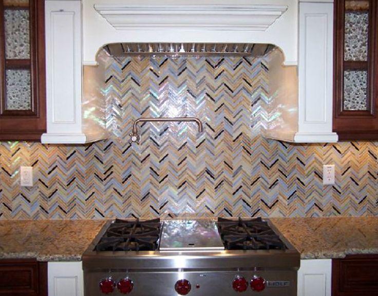 Rainbow Herringbone glass tiles used in a kitchen