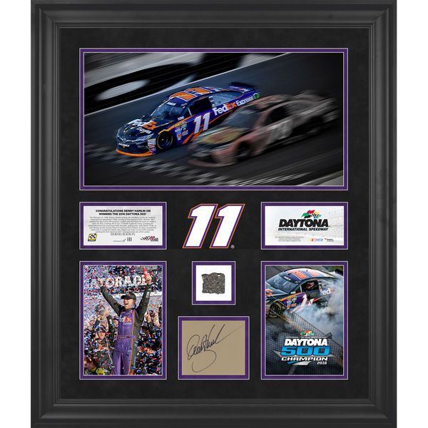 """Denny Hamlin Fanatics Authentic Framed Autographed 20"""" x 24"""" 2016 Daytona 500 Champion Race Winner Collage with Track - Limited Edition of 111 - $199.99"""