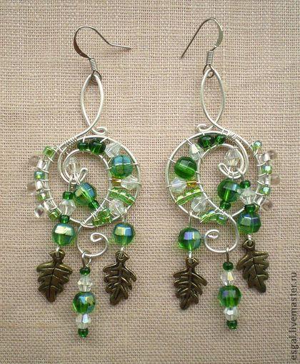 """Серьги """"Лесная свадьба"""" - серьги,зеленый цвет,фэнтези,эльфийские серьги"""