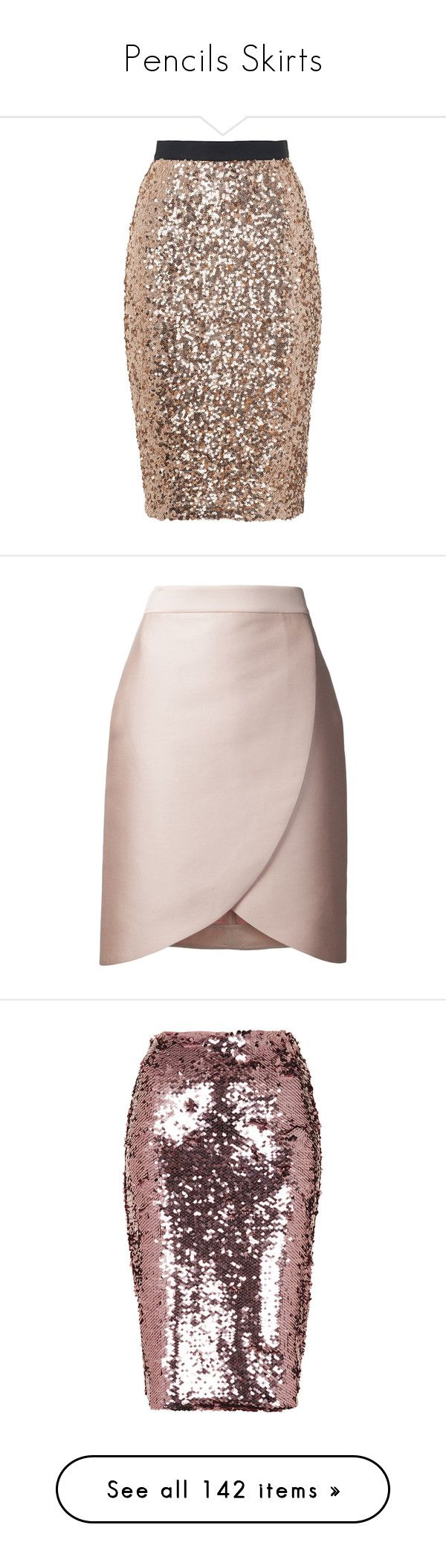"""Pencils Skirts"" by carolines-closet ❤ liked on Polyvore featuring skirts, wet look skirt, sequin pencil skirt, french connection skirt, gold pencil skirt, sparkly pencil skirt, short skirts, pink skirt, short pencil skirt and knee length pencil skirt"
