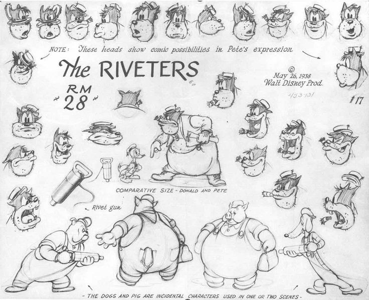 "talesfromweirdland: "" ‪Model sheets of various Mickey Mouse villains and antagonists (in random order): a bandit from the 1934 cartoon, Two-Gun Mickey, Peg Leg Pete (various shorts), Mortimer Mouse..."