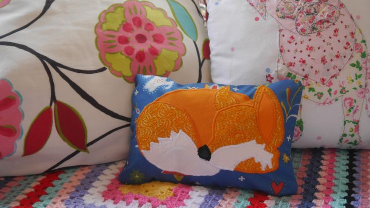 Machine Applique Sleeping Fox, small cushion cover, made from Vintage fabrics. by SewIDidBoutique on Etsy