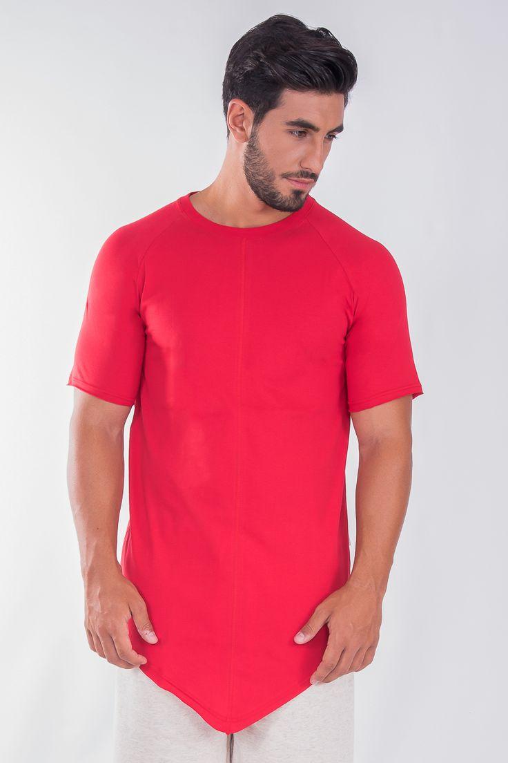 Longline Raglan Asymmetric T-Shirt